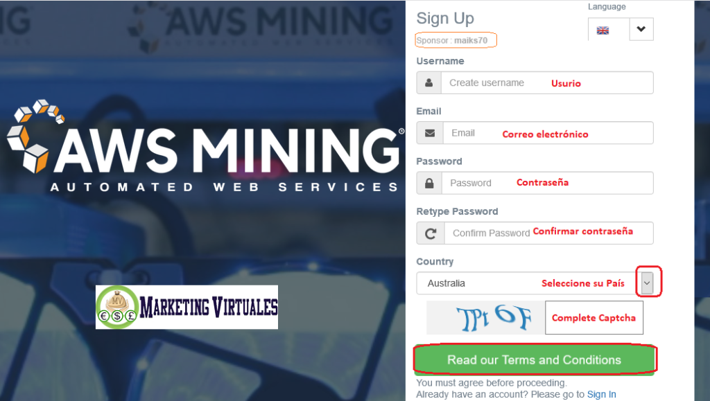 Registrate en aws mining
